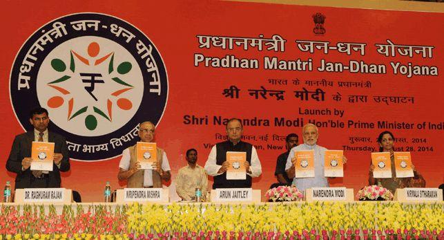 India's PM Modi launches Jan Dhan Yojna in Delhi on 28th August 2014.