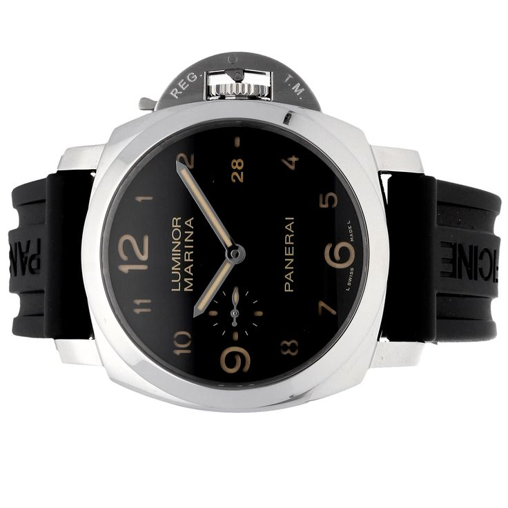 Pre-Owned Panerai Luminor Marina 1950 3-Days Acciao (PAM00359) self-winding automatic watch, features a 44mm stainless steel case surrounding a black dial