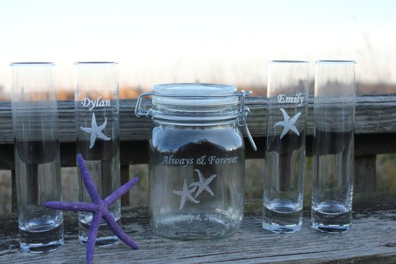 This beautiful 6 piece unity sand ceremony set is engraved with Always & Forever and two starfish and your wedding date. The 5 pouring vases is
