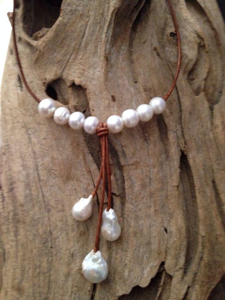Classic Pearl and Leather Necklace w/ Triple Fireball Pearl Drops