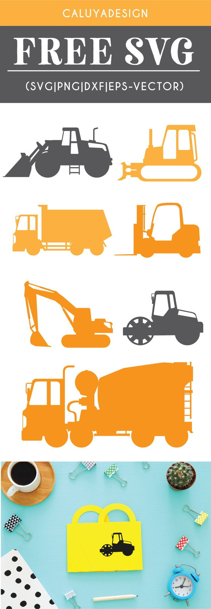 Free Construction Vehicles SVG, PNG, EPS & DXF by – Ashley Nemethy