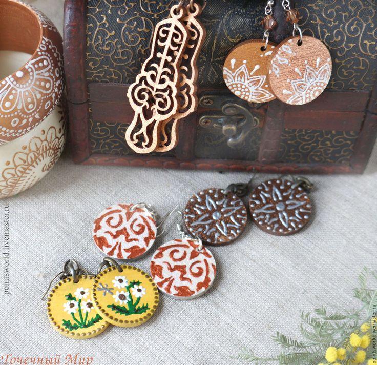 Купить Серьги из дерева резные и с росписью - серьги из дерева, серьги с росписью, сережки из дерева