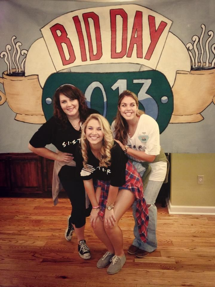 In front of our Central Perk coffee bar! Bid day fun! #AOII