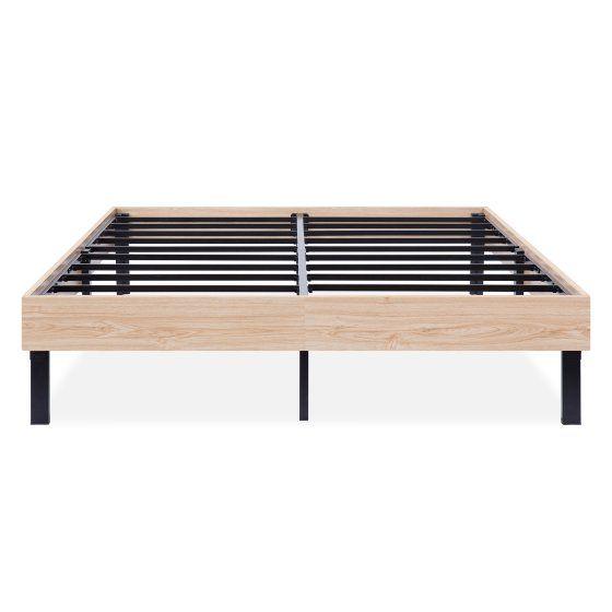 Granrest 14 Inch Wood Finished Platform Bed Frame Natural Full Walmart Com Wood Platform Bed Frame Wooden Platform Bed Platform Bed Frame