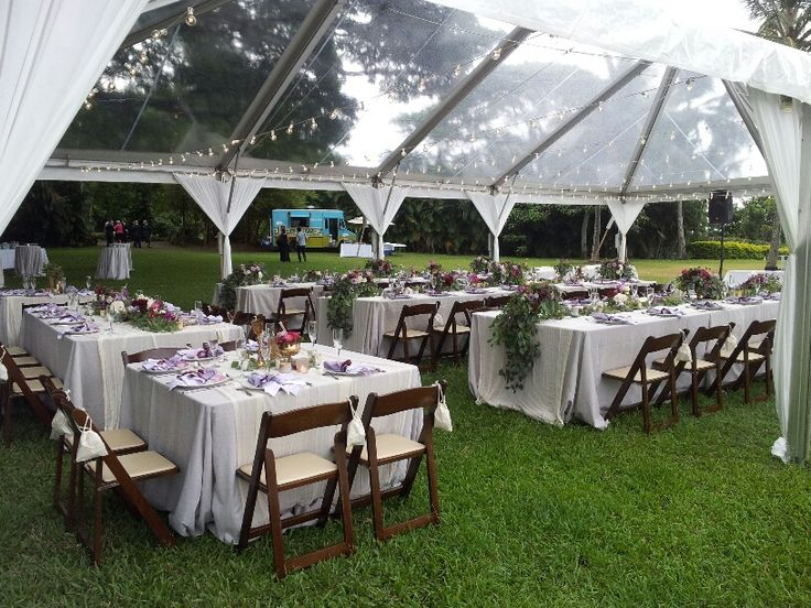 Mahogany Folding Chairs With 48x48 Square Tables And 8ft Extra Wide Under A Clear Top Tent Straight Lines Of Cafe Lights