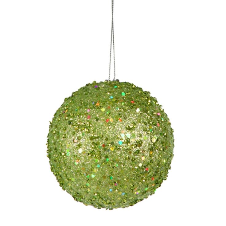 Vickerman Fancy Green Apple Holographic Glitter Drenched Christmas Ball Ornament 3 (80mm)