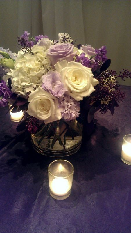 Purple reception wedding flowers, wedding decor, wedding flower centerpiece…