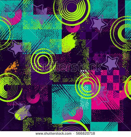Abstract seamless pattern for girls, boys, clothes. Creative vector background with dots, geometric figures,stripes inscriptions.Funny wallpaper for textile and fabric. Fashion style. Colorful bright.