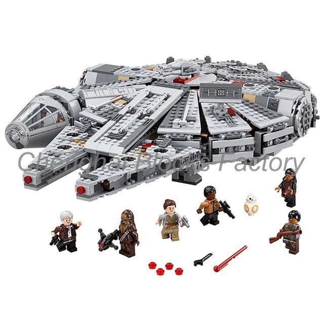 Fábrica Precio de Venta Entero de Star Wars Halcón Milenario Figura regalo de bloques de construcción de Juguetes compatible con legoed