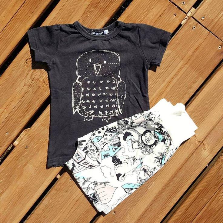 Total look Aarrekid pour fille et garçon avec le t-shirt hibou et le sarouel (ou legging) valley. En vente sur www.eloisbio.fr