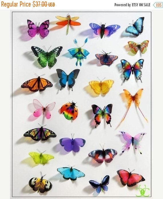 NEW YEAR SALE 50 pack of 3D Butterflies by Clearcutcrafts on Etsy