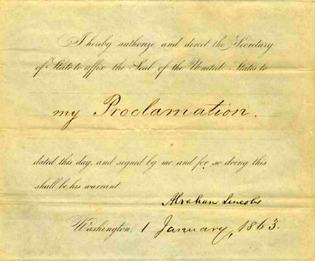Abraham Lincoln's order to affix the United States seal to the Emancipation Proclamation, January 1, 1863. Chicago Historical Society purchase, ICHi-32499