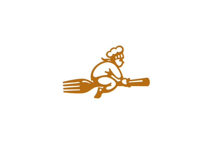 """The flying chef? Solid logo. Inspiration from """"Kiki delivery service"""" from Ghibli Studio"""