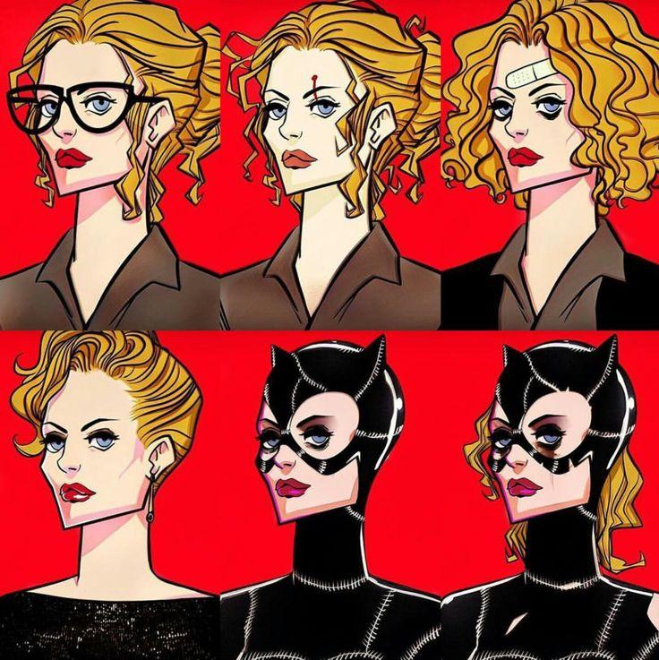 """Catwoman"" Incarnations - Source Instagram  Art Illustration By #ohremo85 #Catwoman #DcVillian #DcComics #DC #Gotham #GothamGirls #BatShitCrazy #ArkhamAsylum #Lunatic #Insane #KillerFashion #Meow #MichellePfeiffer"