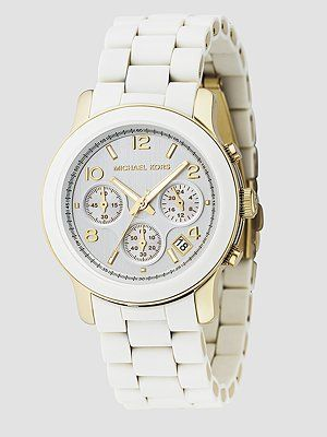 MK Watch <3: Woman Watches, Style, Michaelkor, Jewelry, Michael Kors Watches, White Watches, Accessories, Products, Chronograph Watches