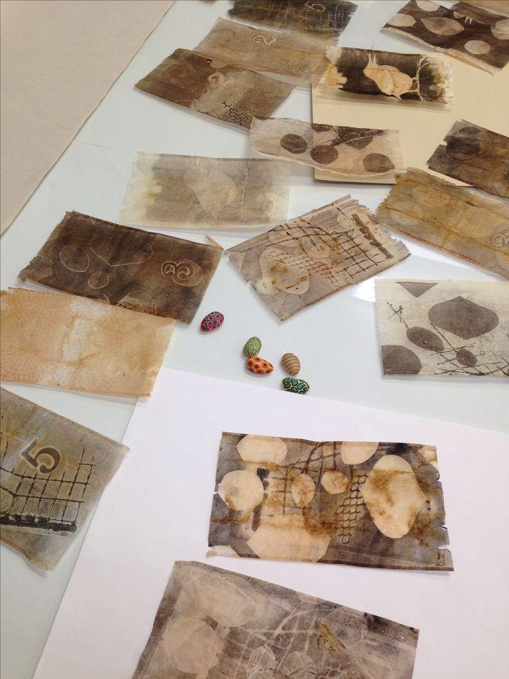 Monotype on used tea bags.