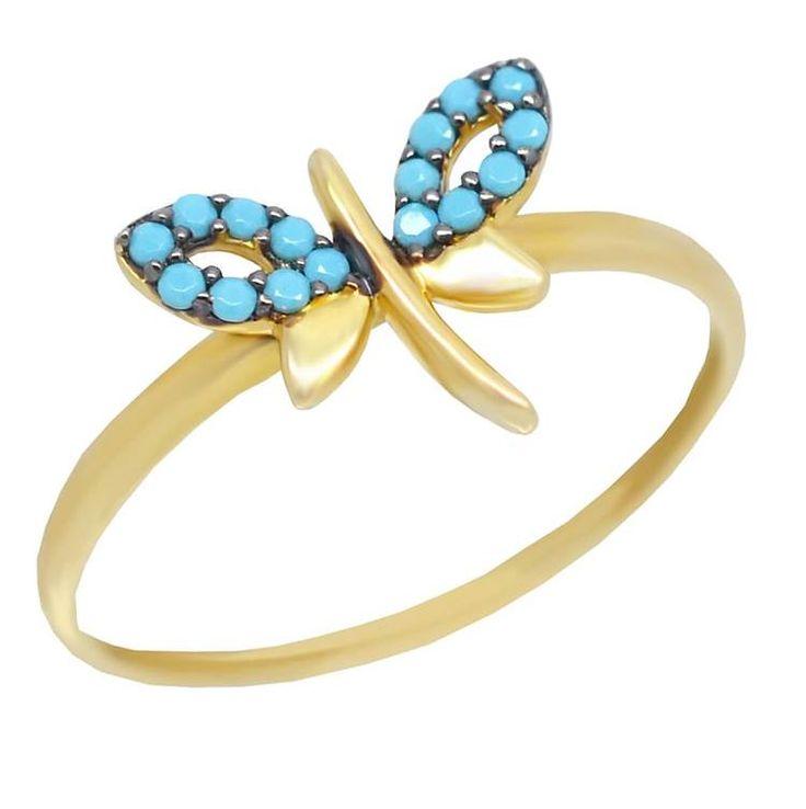 ΕΔ47P- Χρυσό δαχτυλίδι πεταλούδα με πετρούλες τιρκουάζ