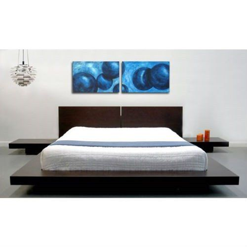 king modern japanese style platform bed with headboard and 2 nightstands in espresso - Japanese Style Bed Frame