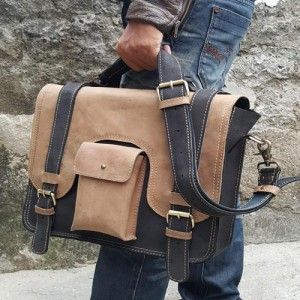 CRAZY HORSE Leather Messenger Bag 014
