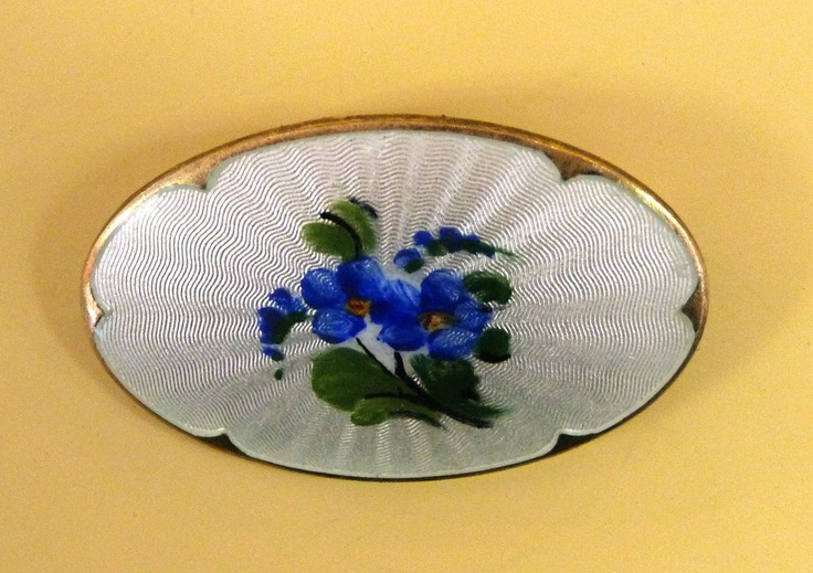 Vintage Ivar Holth Norway Sterling Guilloche Enamel Forget-Me-Nots Pin from bejewelled on Ruby Lane