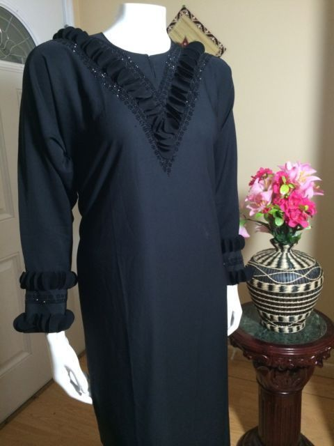 nice All Black Fancy Khaleeji Abaya Arabic Jilbab With Hijab Made In Dubai Size L   Check more at http://harmonisproduction.com/all-black-fancy-khaleeji-abaya-arabic-jilbab-with-hijab-made-in-dubai-size-l/