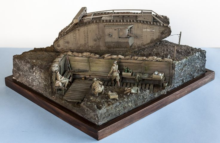 https://flic.kr/p/srM4Hy | WW1 Tank and Troops in trench | British troops' first encounter with a tank. 1/35 Modified Emhar MkIV and Tamiya Figures and accessories.