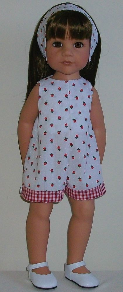 "Strawberry play suit  alice band to fit 18"" Dolls Designafriend/Gotz hannah"