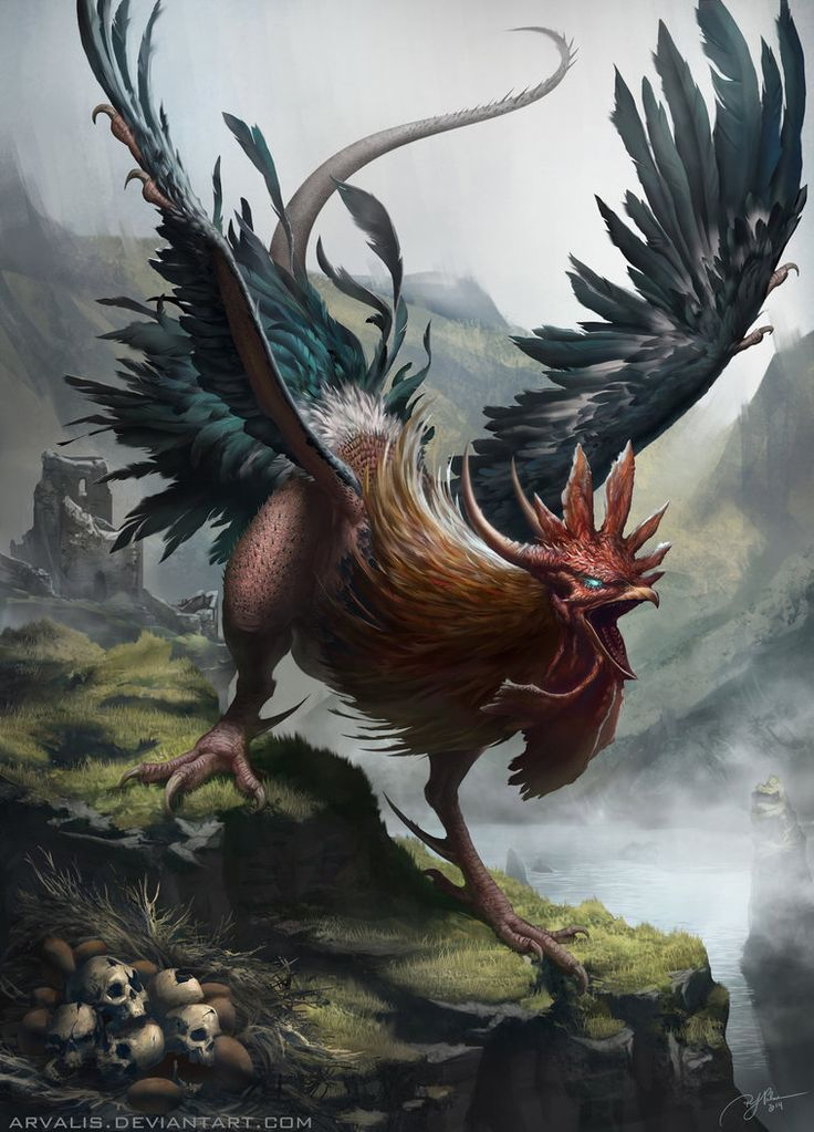 A cockatrice is a mythical beast, essentially a two-legged dragon with a rooster's head.