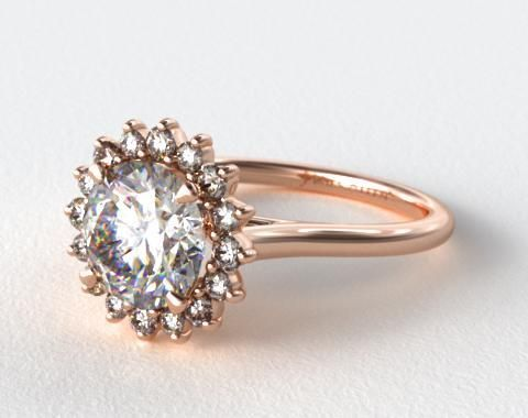 14K Rose Gold Diamond Pave Sunburst Engagement Ring