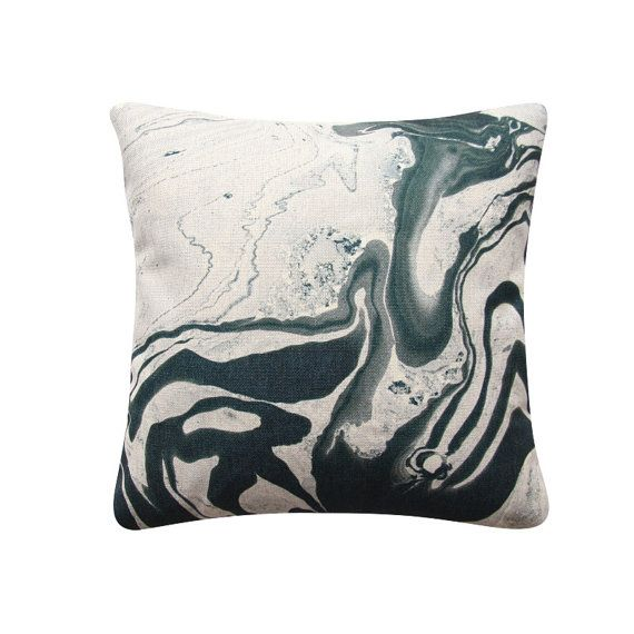 Black Charcoal Marble Pillow Cover Abstract Cushion by BeadandReel