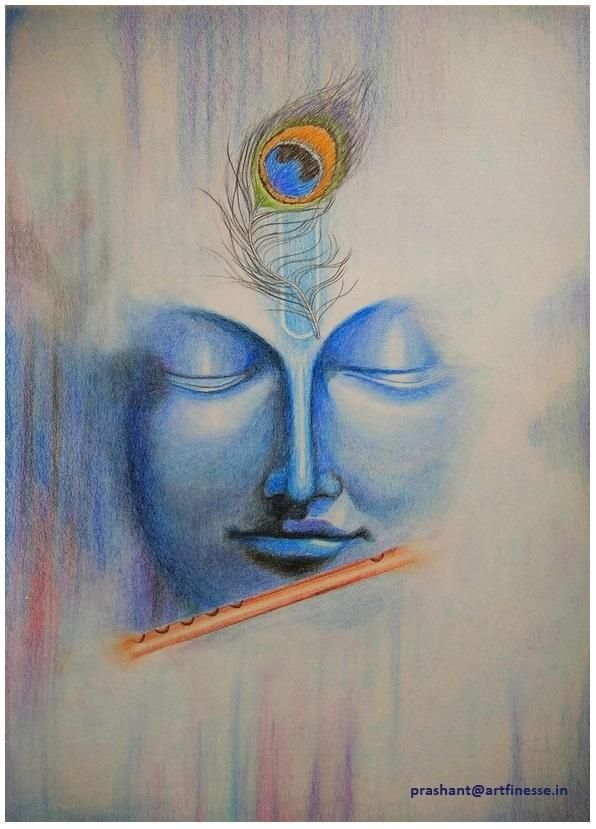 Abstract Color Pencil Drawing Krishna Face In 2019