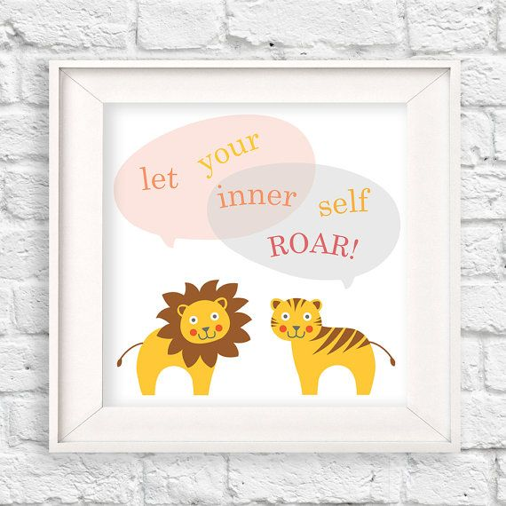 "Cute and clever lion and tiger wall art with the saying, ""Let your inner self ROAR!"", lion wall art, lion tiger nursery, zoo nursery, inspirational quotes, modern nursery, kids room, lion tiger print, nursery framed art"