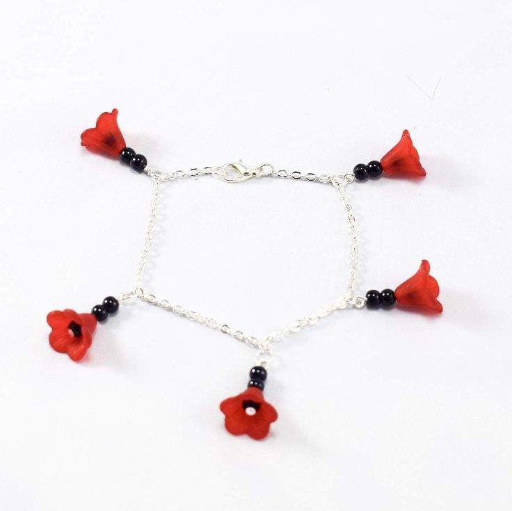 Rockabilly Red Bloom Black Bead Charm Bracelet by KitschBride on Etsy