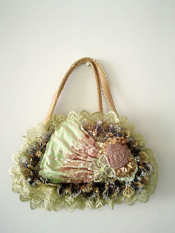 vintage inspired purse handmade purse small green by Pookieandness