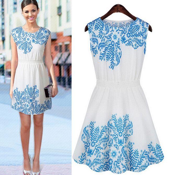 Blue Ethnic Print Tight Waist Sleeveless Chiffon Dress