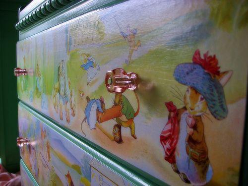 Decoupage changing table / dresser - Beatrix Potter art