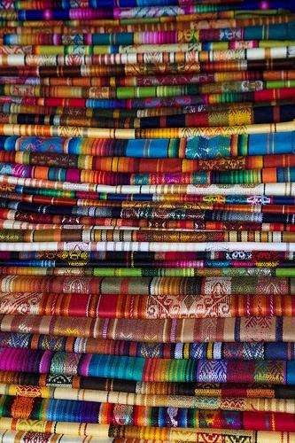 textiles at quito Ecuador market