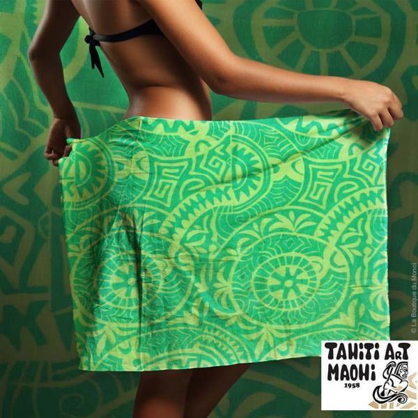 Pareo Tahiti Art Maohi 100% Coton Prince P7 - La Boutique du Monoi