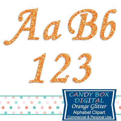 Orange Glitter Alphabet Clipart by Candy Box Digital. Perfect for Halloween! Great for scrapbooks, journals, blogs, websites and paper crafts - Candy Box Digital