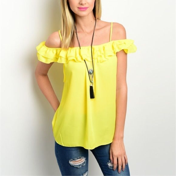 Beautiful summer yellow off shoulder ruffle top! Spaghetti stapes and pretty ruffle encircling top! Lovely! Tops Blouses