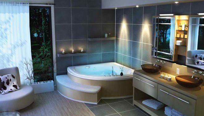 Jacuzzi in een prachtige badkamer moderne badkamers pinterest jacuzzi badkamer en ontwerp - Gemeubleerde salle de bains ontwerp ...