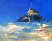"""Tableau d'une vue de nuit """"Le Mont Saint Michel"""" : Peintures par peintures-axelle-bosler"""