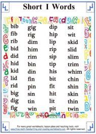 Short Vowel Sound - Word Lists
