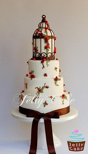 Autumn Bird Cage Wedding Cake