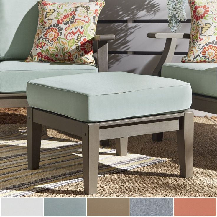 Yasawa Grey Wood Outdoor Ottoman Stool With Cushion By Napa Living (RED  Cushion), Patio Furniture (Fabric)