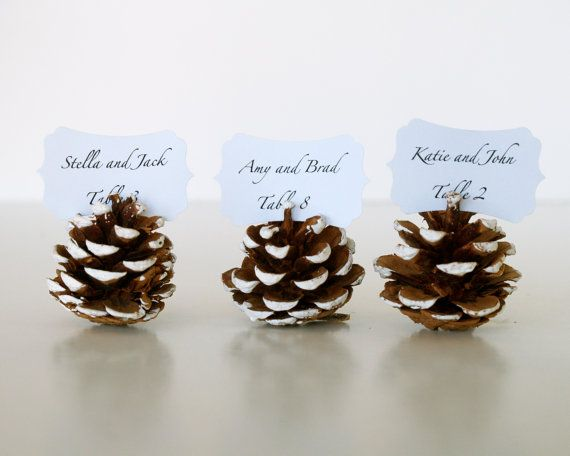 Christmas Wedding Escort Cards, Pine Cone, Woodland Wedding, 10 Name Place Table Setting Plan Rustic Country Theme Winter Snow White. $20.00, via Etsy.