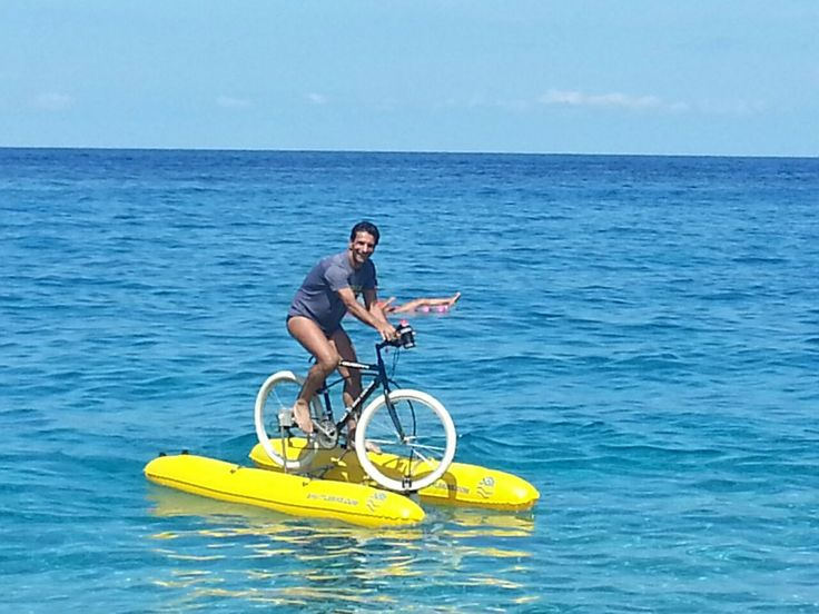 Riding a water bycicle!!! only in Scilla!