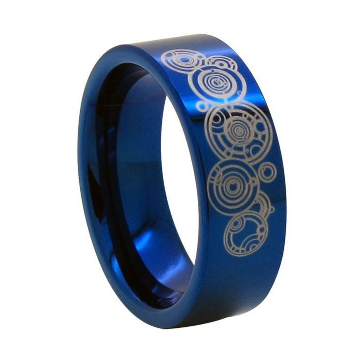 8mm Blue Tungsten Ring w/ Time Lord Symbol - Doctor Who Size 6-18 (#NR04LD) www.bernysjewels.com #bernysjewels #jewels #jewelry #nice #bags