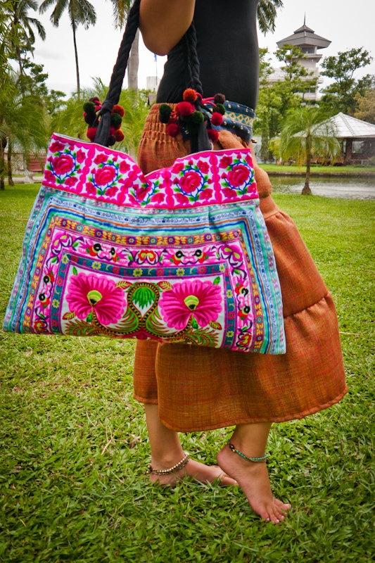 Large Handbag Purse Karen Hill Tribe Style in Cotton, Floral Pattern. $30.00, via Etsy.