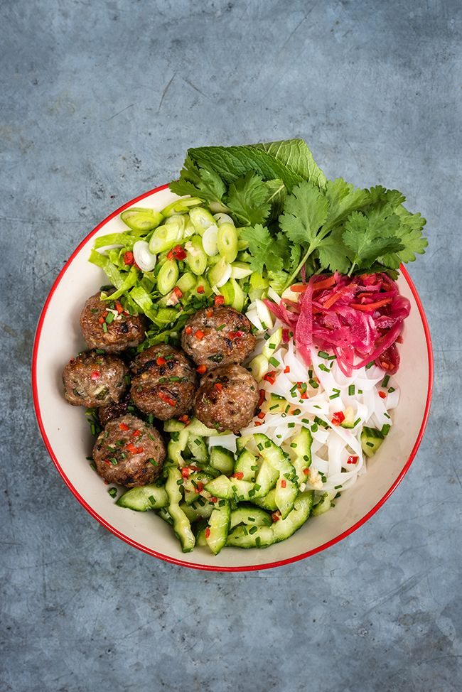 Vietnamese rice noodle salad with grilled pork meatballs (Bun Cha), cucumber & herbs – quick and easy to assemble and packed with flavour.